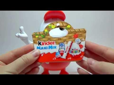 Kinder Maxi Mix. Распаковка маленького пластикового Киндерино.