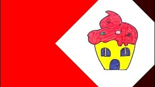رسم - تعليم رسم بيت منزل علي شكل ايس كريم بسهولة thumbnail