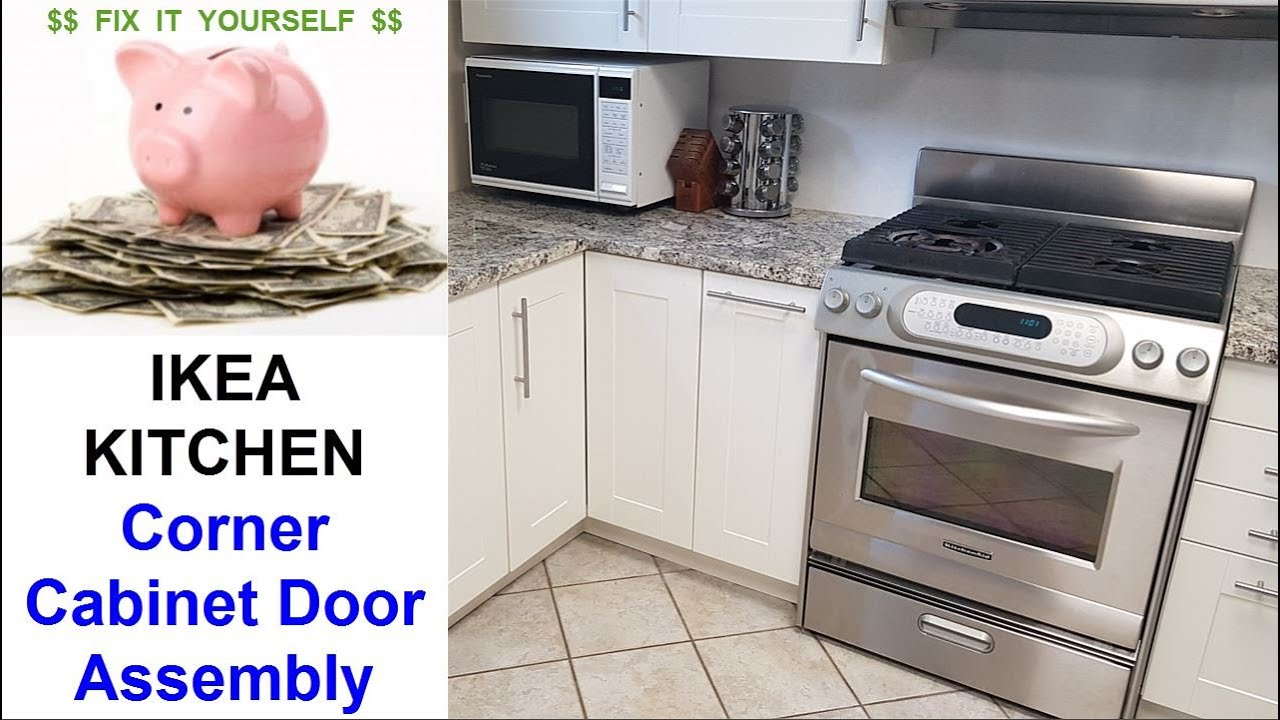 Ikea Kitchen Corner Cabinet Door Installation Youtube