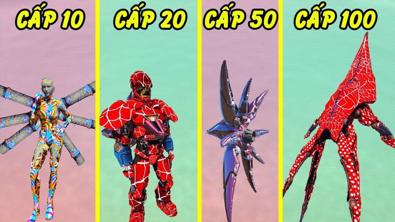 GTA 5 - Fan kêu tôi tiến hóa Người nhện P2 đến cấp 100 hình dạng Nhện truyền thuyết hủy diệt | GHTG