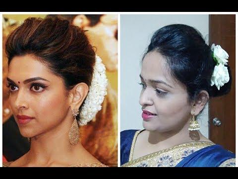 Deepika Padukone Inspired Puff And Bun Hairstyle Indian