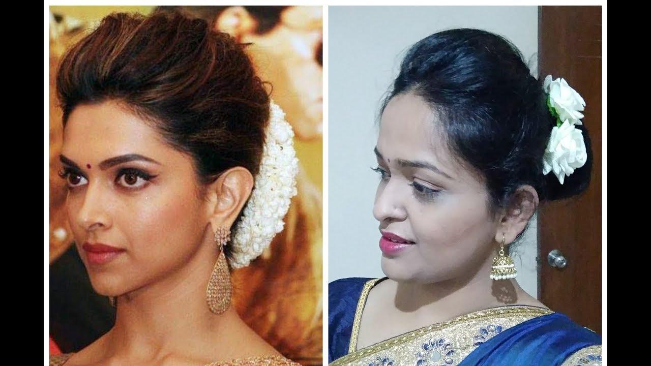Deepika Padukone Inspired Puff and Bun Hairstyle | Indian ...