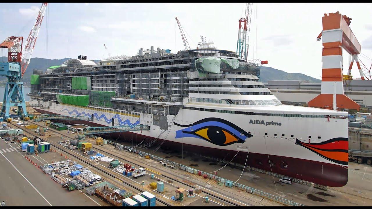 AIDAprima Cruise Ship Drydock And Painting YouTube - Docked cruise ship