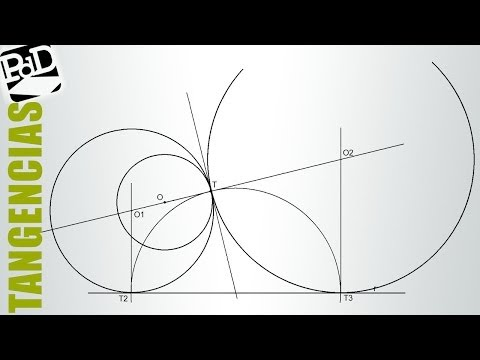 Circunferencia tangente a recta y otra circunferencia por punto dado (aplicando potencia).