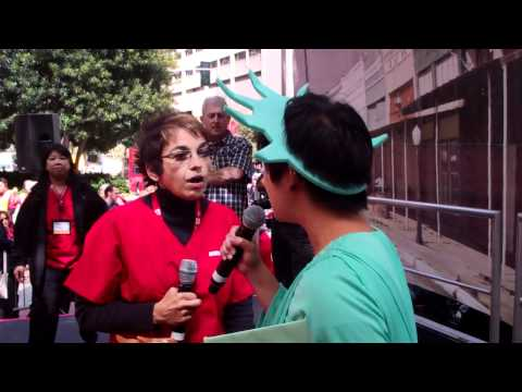 RNs Help Lady Liberty Awaken from her Wall Street Nightmare at SF Rally Today
