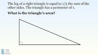 Competition Math Shortcut: Solve For This Special Triangle's Area In Seconds