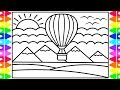How to Draw a Hot Air Balloon for Kids 💚💖💙💛 Hot Air Balloon Drawing and Coloring Pages for Kids