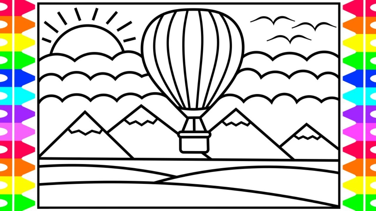 How To Draw A Hot Air Balloon For Kids 💚💖💙💛 Hot Air