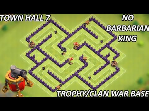 Clash Of Clans - Town Hall 7 (TH7) Trophy/Clan War Base With Air Sweeper/No Barbarian King