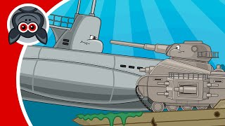 Leviathan and Submarine. Adventures of Steel Monster. Cartoons About Tanks