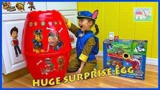 Chase does Huge Paw Patrol Surprise Egg Toys Opening w/ Mission Cruiser!