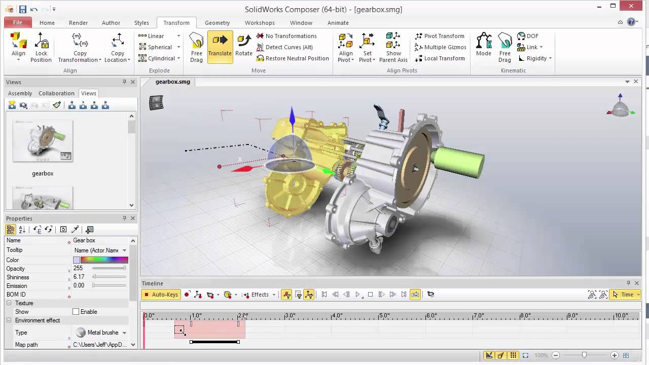 SOLIDWORKS Composer - Transform Animation Path