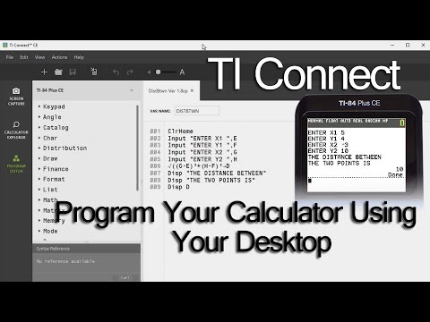How To Program Your TI Calculator On A Desktop Computer With The TI Connect Software