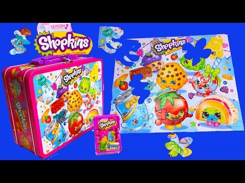 Shopkins Lunch Box Puzzle Tin Season 2 Mystery Surprise Blind Basket Opening Toy Unboxing