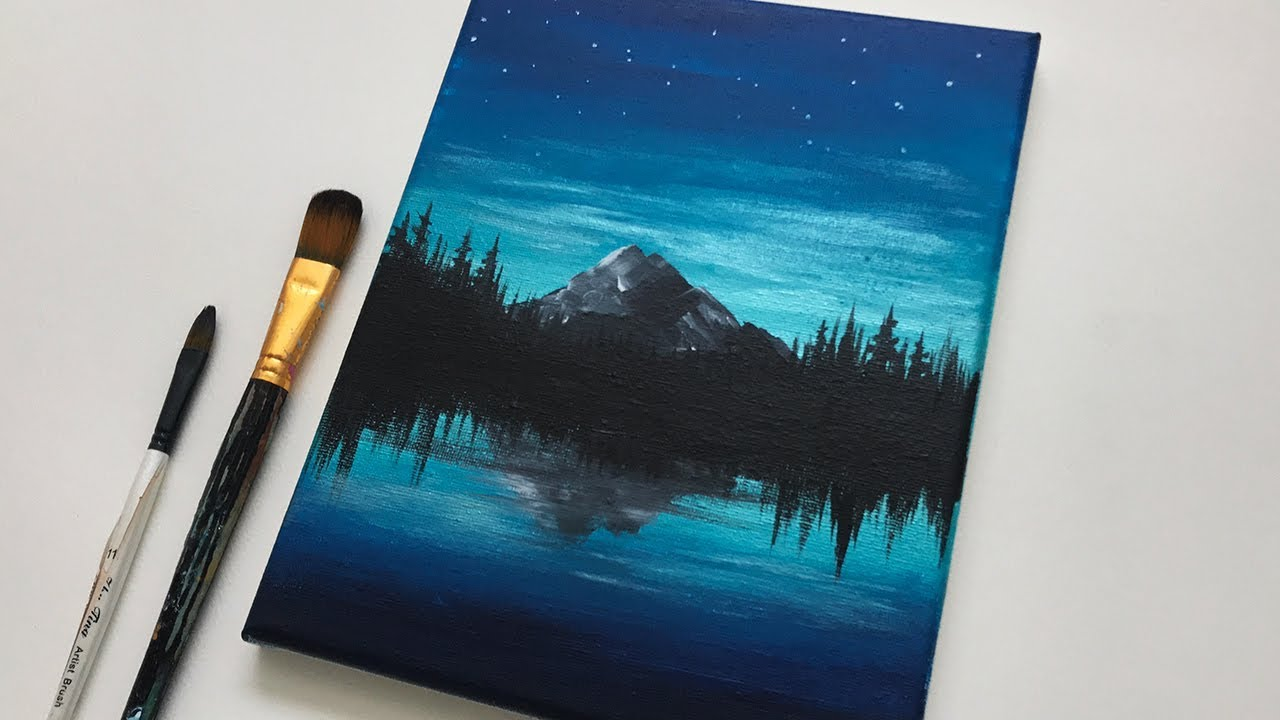 Glowing Night Easy Simple Acrylic Painting Step By Step For Beginners On Canvas Youtube