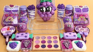 Mixing'Grape' Eyeshadow,Makeup more GLITTER  Into Slime.★ASMR★Satisfying Slime Video