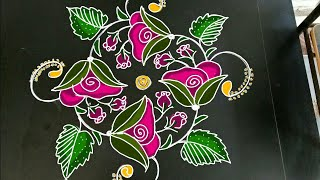 rose kolam...simple daily rangoli..apartment kolam...small rangoli..7 to 1 dots