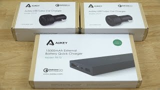 Aukey CC-T1 2-Port USB Car Charger and PB-T3 15000mAh External Battery Quick Charge 2 0