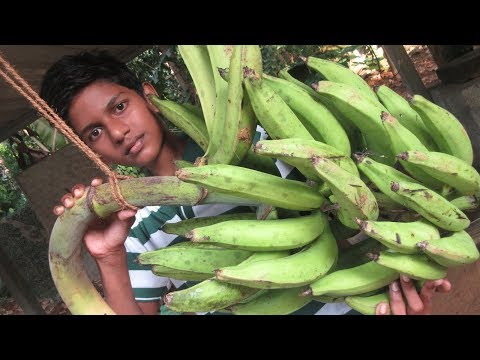 COOKING Fresh BANANA RECIPE by my Family in my village / village cooking / Village food factory