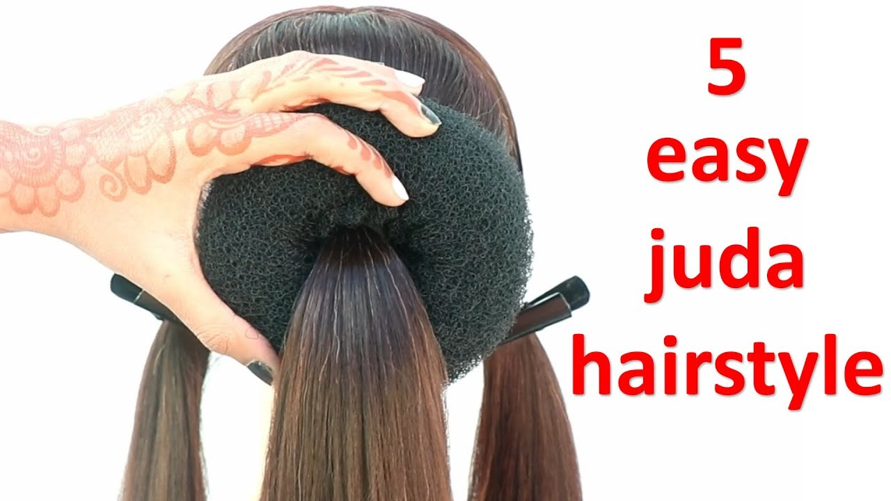 5 easy juda hairstyle for wedding || different hairstyle || hairstyle for girls || cute ...