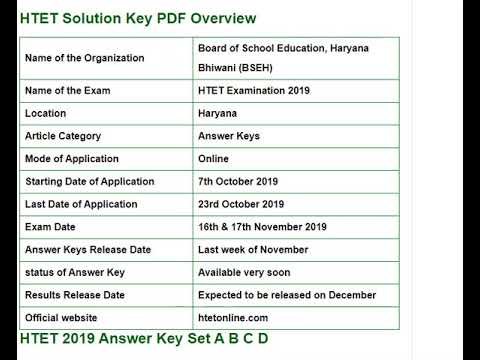 HTET Answer Key 2019 Level 1, 2, 3 For Set A/B/C/D Pdf @ htetonline.com