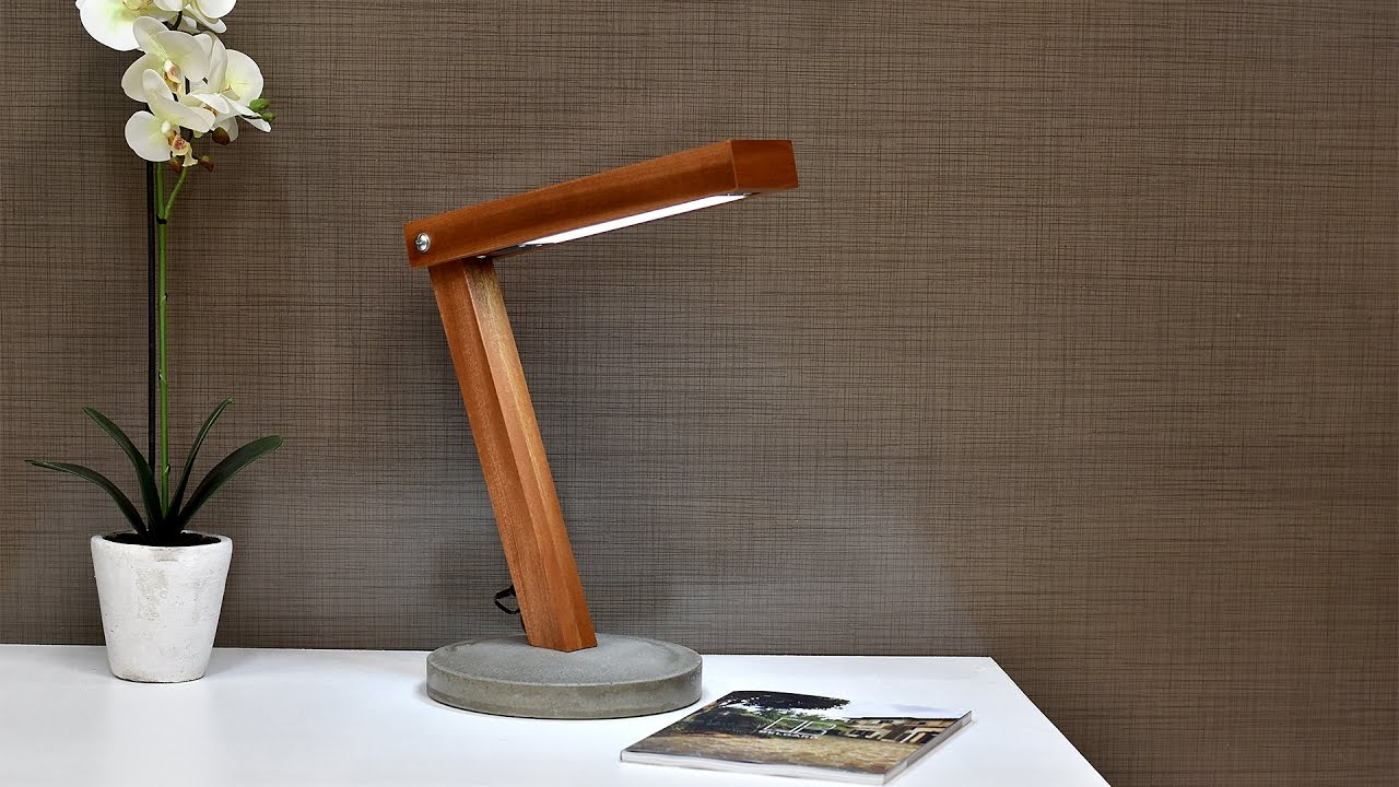 Diy LED Desk Lamp With Concrete Base - YouTube