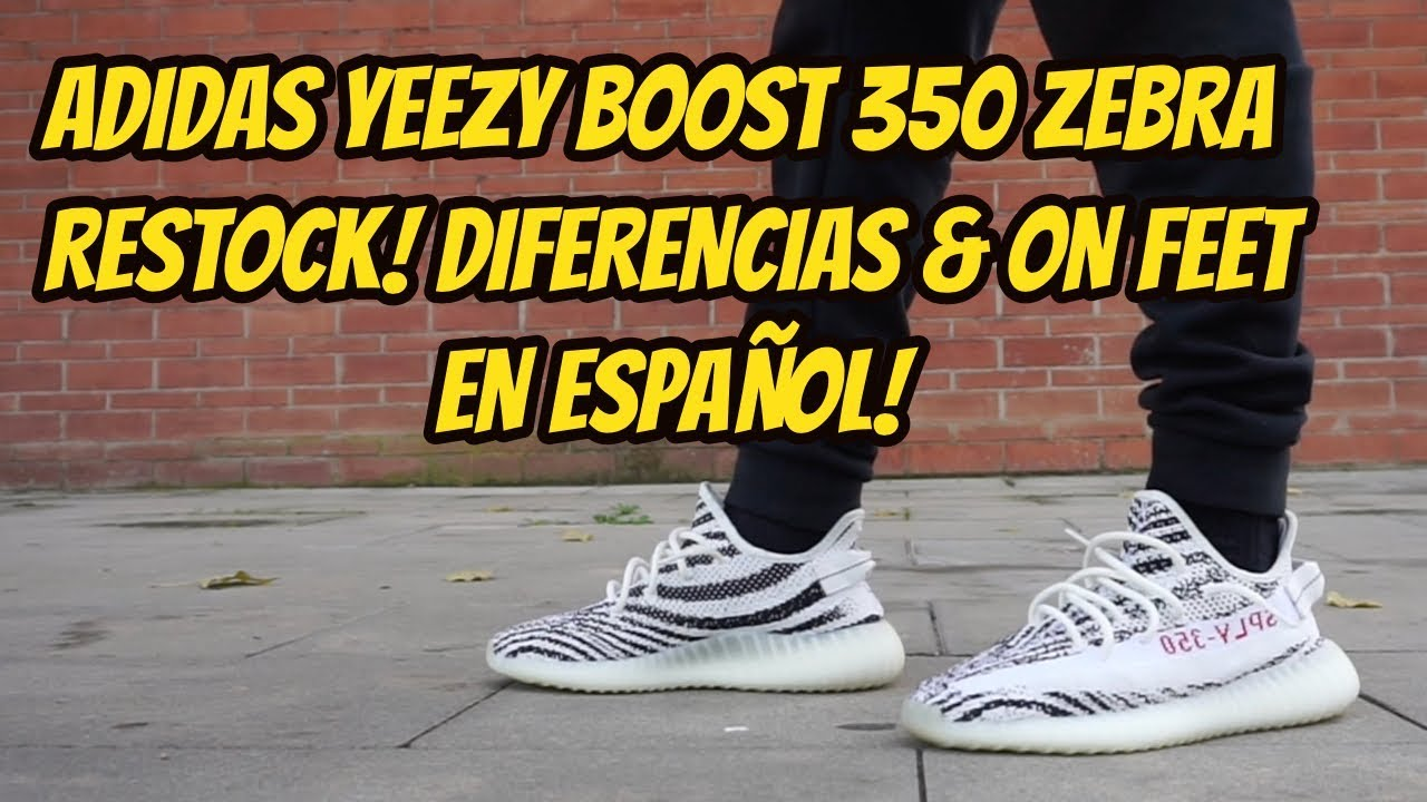 62925e20db88d ADIDAS YEEZY BOOST 350 ZEBRA RESTOCK!! REVIEW ON FEET   DIFERENCIAS ...