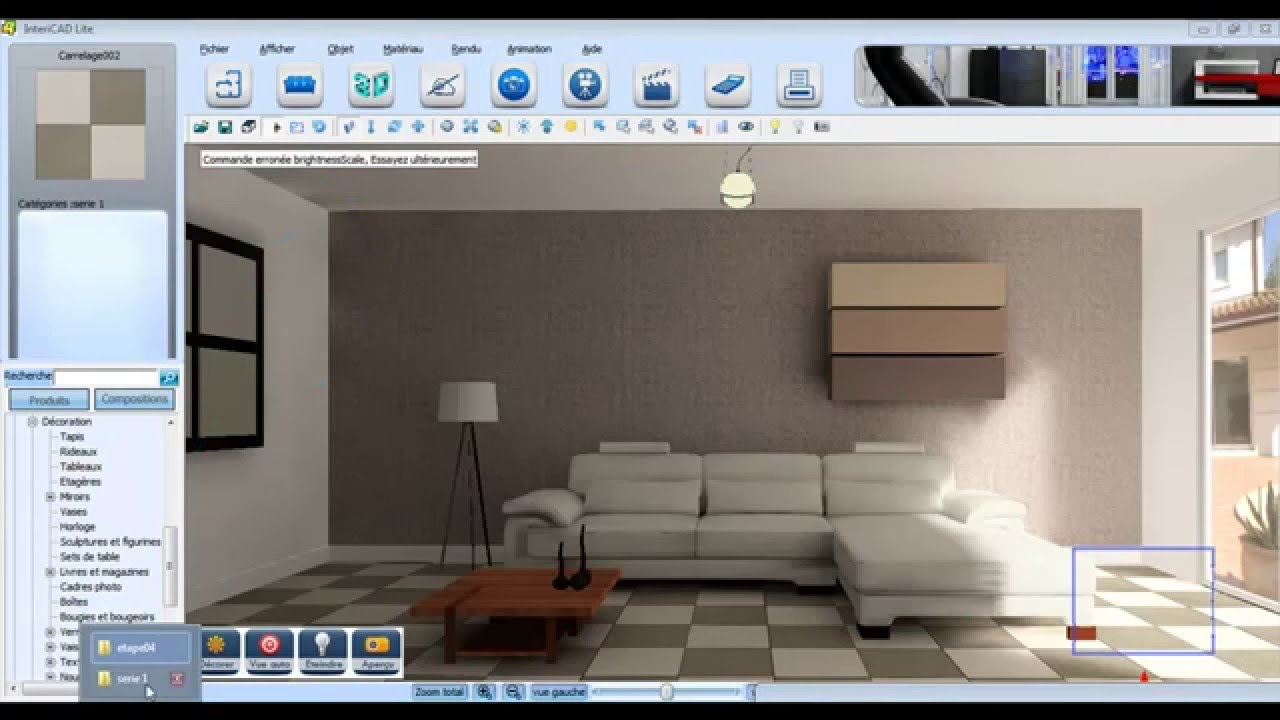 projet d coration d 39 int rieur 3d r alis avec intericad lite youtube. Black Bedroom Furniture Sets. Home Design Ideas