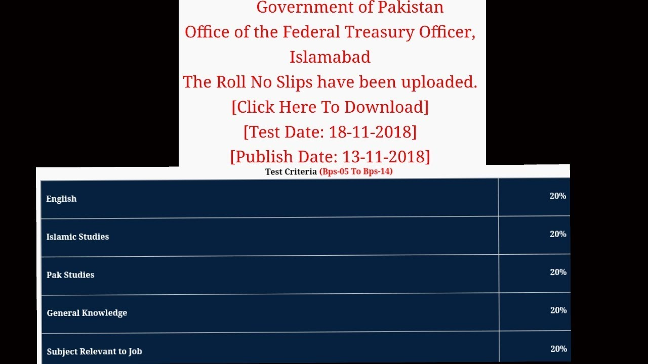 Roll No Slips l Office of the Federal Treasury Officer, Islamabad l  Unisersal Testing Service