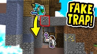 FAKE Fall TRAP! (Minecraft Skywars Trolling)