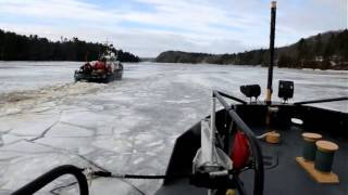 Coast Guard Cutter Shackle and Tackle break ice on the Penobscot River