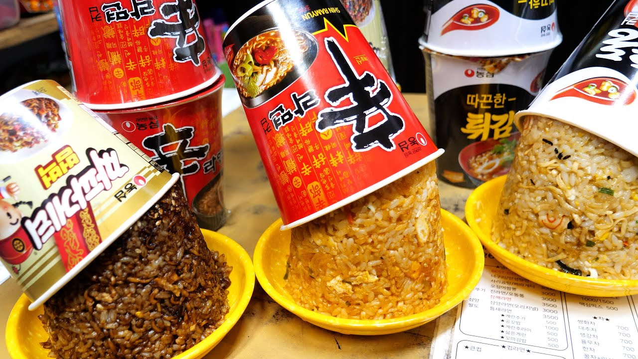 조회수 난리난 컵라면 볶음밥 / 설마 모르는사람 없겠죠? / 신라면, 짜파게티, 튀김우동 / Cup Noodle Fired Rice | Korea Street Food