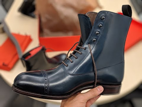Carmina Navy Cordovan Balmoral Boots 80092 Forest - Unboxing