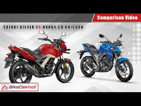 suzuki gixxer vs honda cb unicorn 160 comparison video. Black Bedroom Furniture Sets. Home Design Ideas