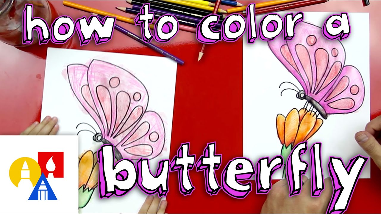 How To Color A Butterfly With Watercolor Pencils - YouTube