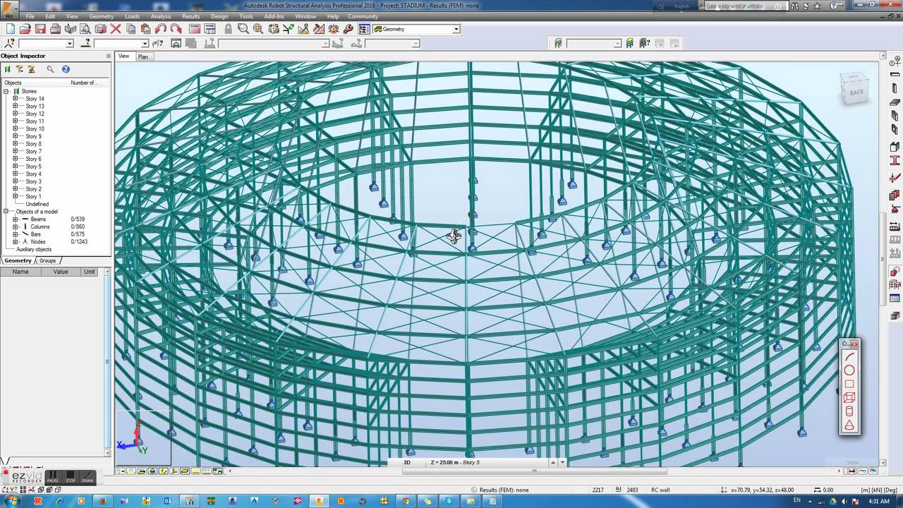 Structural Model of A Stadium in Autodesk Robot Structural Analysis