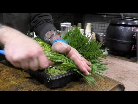 London Street Food. A Drink of Wheatgrass Made and Tasted in Borough Market