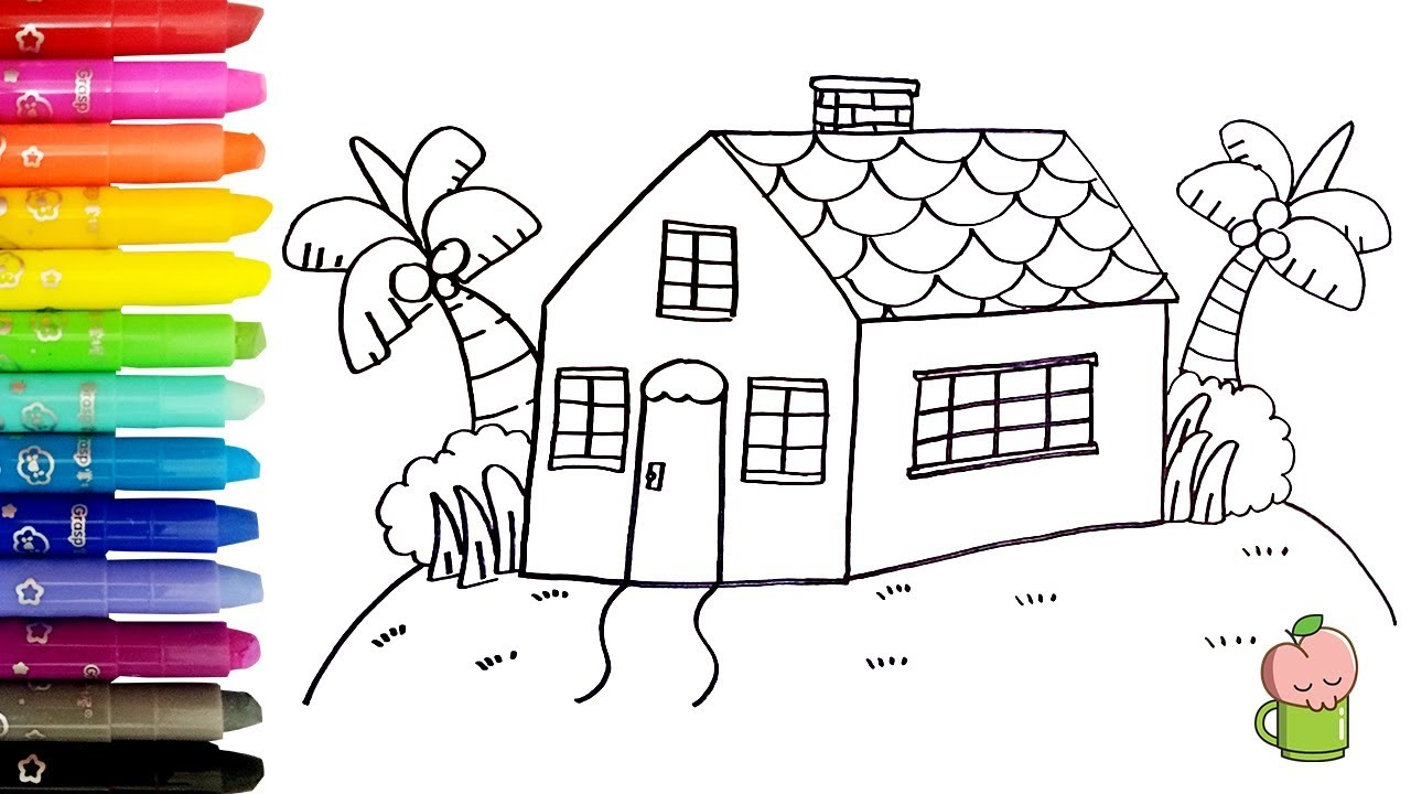 Rainbow House How To Draw And Color Children Coloring Pages For Kids