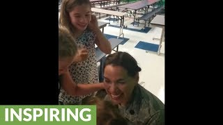 Mom Surprises Her Girls At School After 6 Month Deployment!