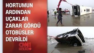 CNN TÜRK devrilen otobüsü ve Antalya Havaalanı'ndaki hasarı görüntüledi