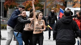 La Falange responde con amenazas y cánticos franquistas al intento de boicot de Femen a su acto thumbnail