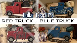 Fall & Christmas Vintage Red or Blue Truck    Dollar Tree DIYS    Farmhouse decor