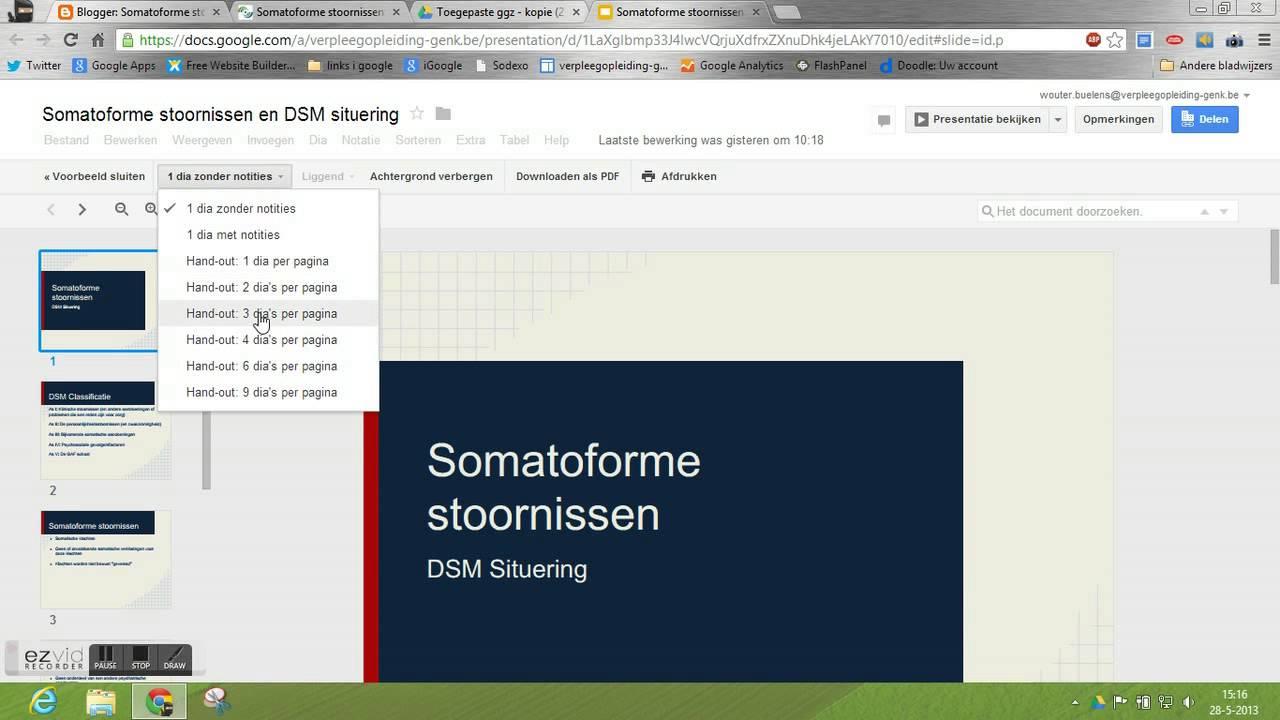 Google apps: presentatie als handouts afprinten