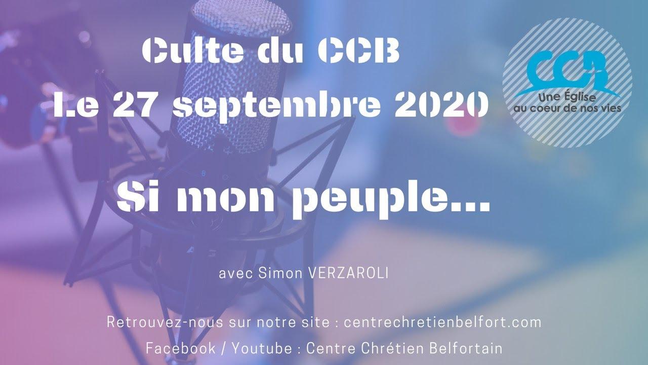 """""""Si mon peuple..."""" - Culte du CCB le 27/09/2020"""