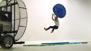Volando con un paraguas
