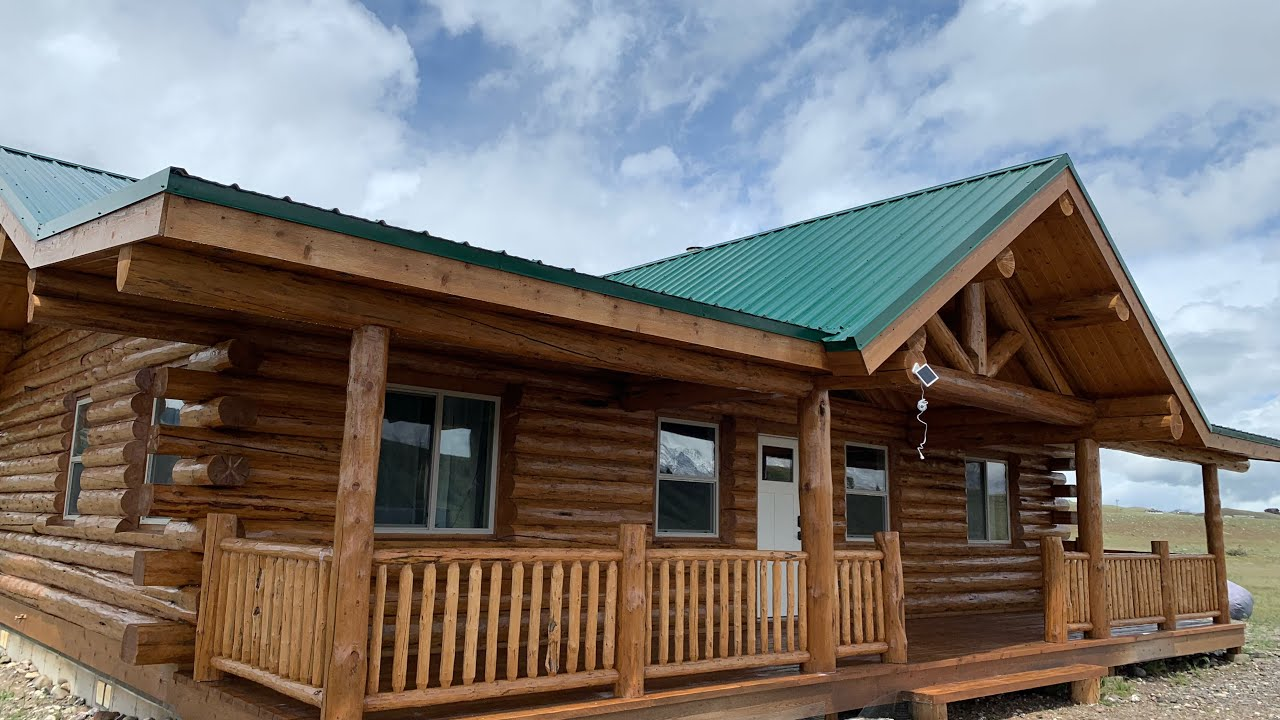 Amish Log Home Exterior Finish Staining- Montana Rancher