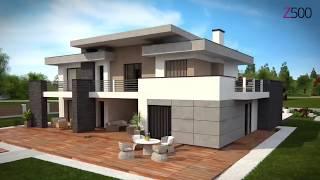 Комфортный двухэтажный дом с плоской кровлей, гаражом на две машины Zx107 от Z500