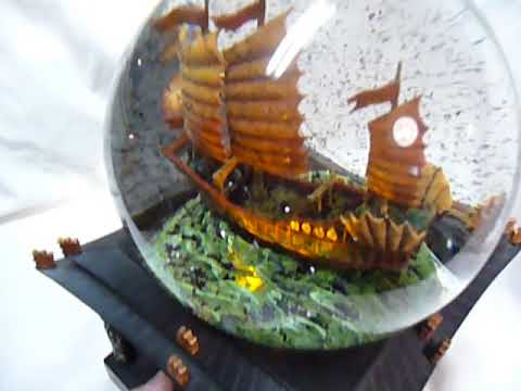 Disney Store Pirates Of The Caribbean At World End  Musical Movement Snow Globe