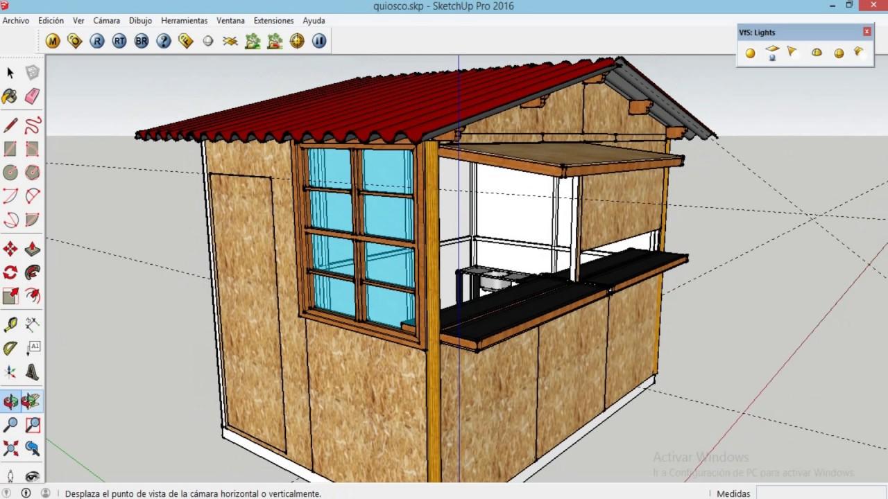 Quiosco en osb sketchup dise o de quiosco youtube for Kioscos prefabricados de madera