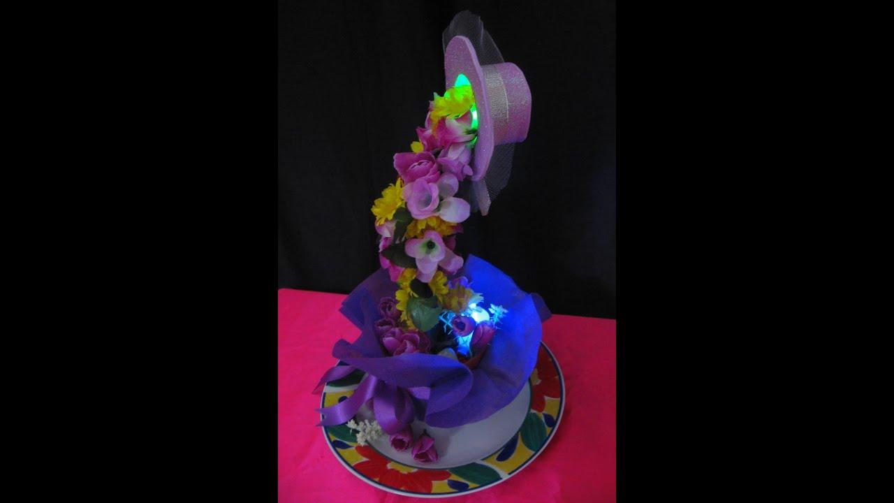 Cascada de flores iluminada centro de mesa o decoraci n for Adornos con plantas de nochebuena